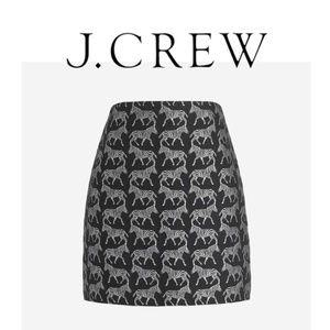 J. Crew Black Silver Animal Zebra Jacquard Skirt 0